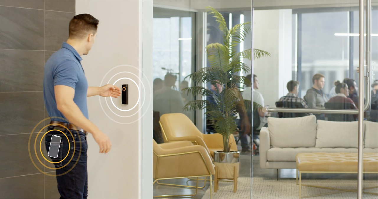 Prodatakey's Touch io system includes an app that detects a mobile credential nearby.