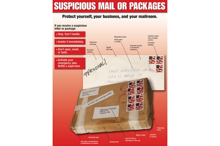 In his latest 'Mitigating Mistakes' column, SIW contributor Paul Timm encourages organizations to place instructional signage, such as the USPS poster pictured above, in their mailrooms to help provide employees with instructions on what to do should they encounter a suspicious package.